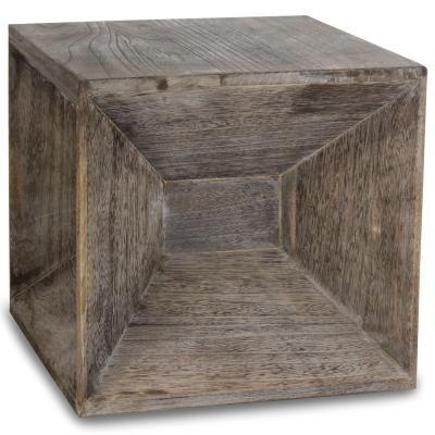Asztalka, fa kocka homorú mintával - CAMERA